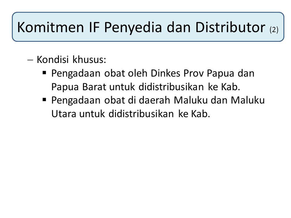 Komitmen IF Penyedia dan Distributor (2)  Kondisi khusus:  Pengadaan obat oleh Dinkes Prov Papua dan Papua Barat untuk didistribusikan ke Kab.  Pen