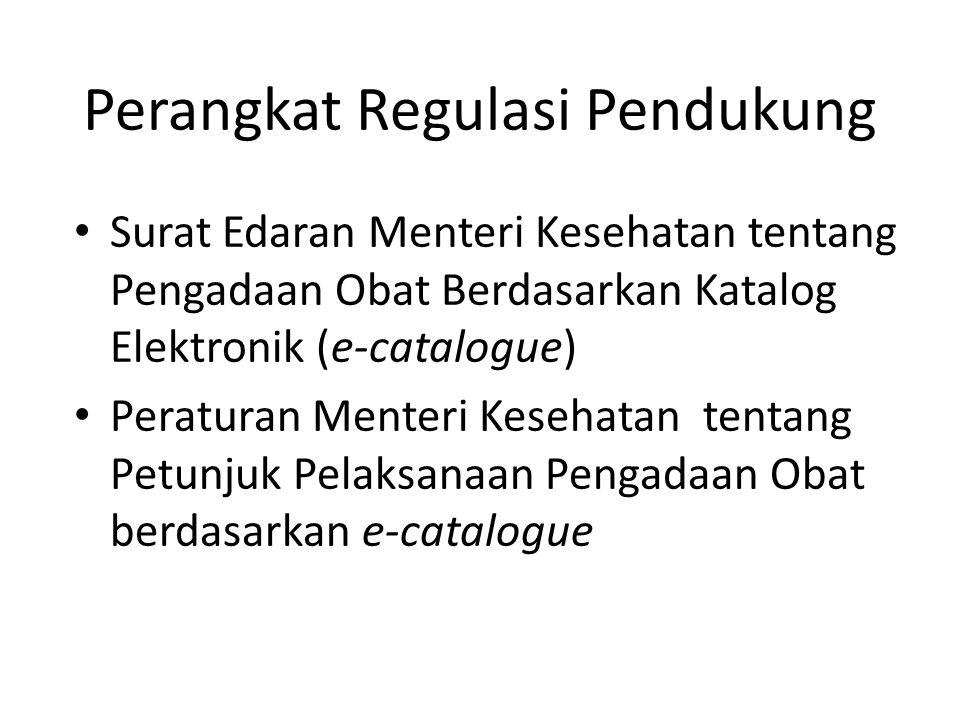 Perangkat Regulasi Pendukung • Surat Edaran Menteri Kesehatan tentang Pengadaan Obat Berdasarkan Katalog Elektronik (e-catalogue) • Peraturan Menteri