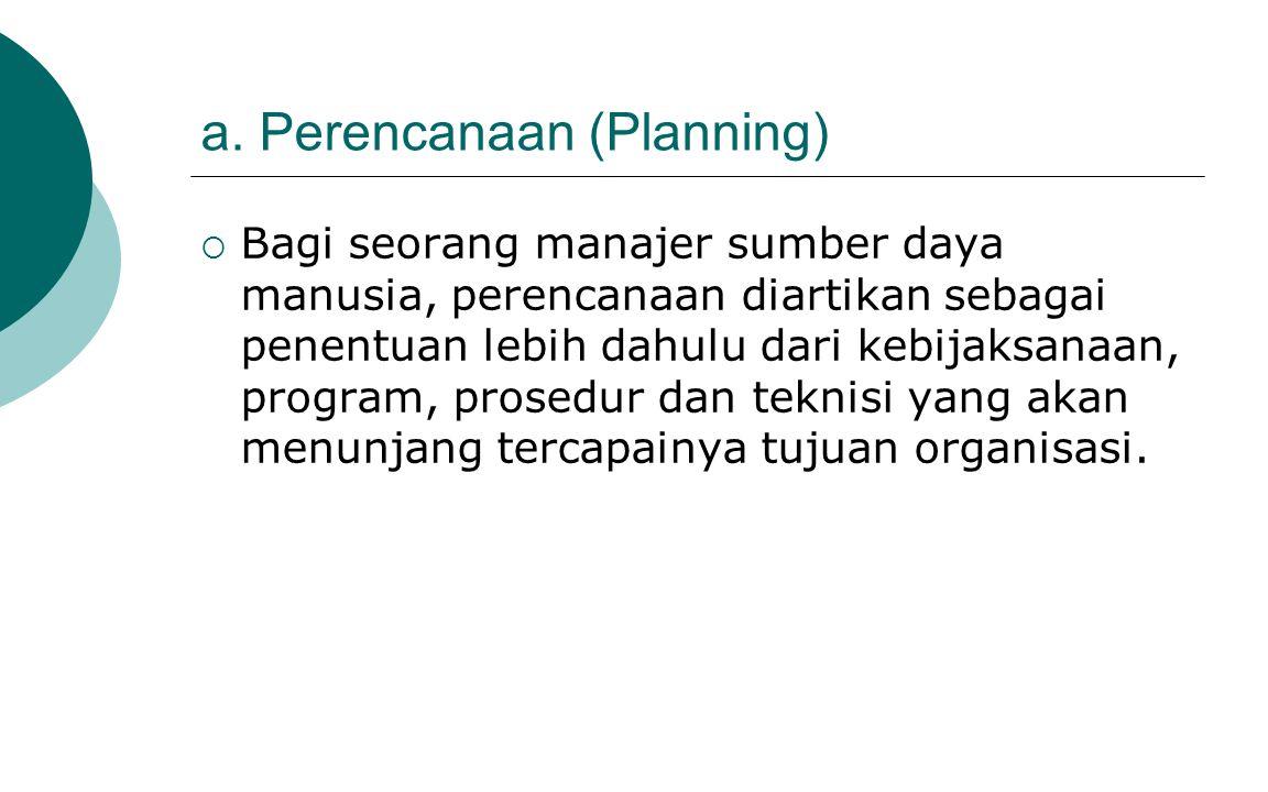 a. Perencanaan (Planning)  Bagi seorang manajer sumber daya manusia, perencanaan diartikan sebagai penentuan lebih dahulu dari kebijaksanaan, program