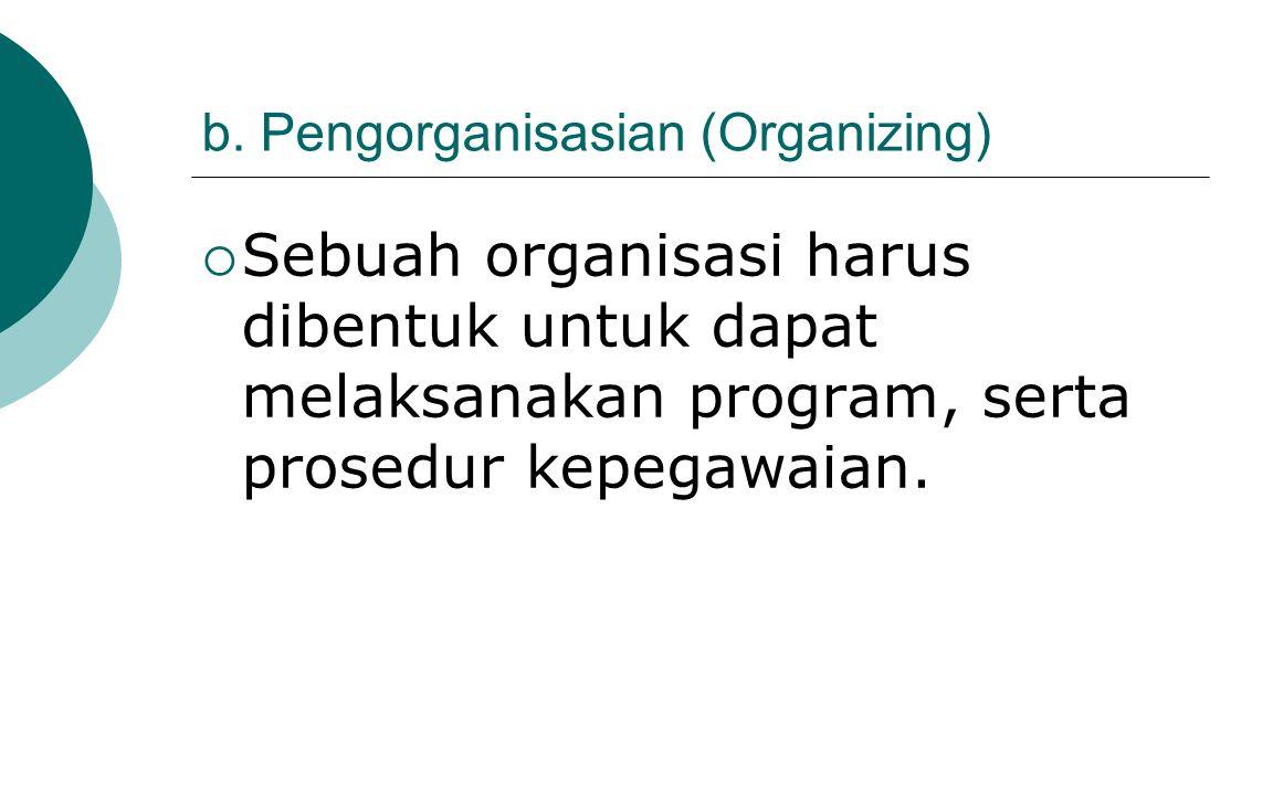 b. Pengorganisasian (Organizing)  Sebuah organisasi harus dibentuk untuk dapat melaksanakan program, serta prosedur kepegawaian.