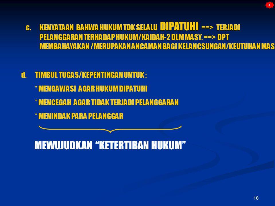 18 c. KENYATAAN BAHWA HUKUM TDK SELALU DIPATUHI ==> TERJADI PELANGGARAN TERHADAP HUKUM/KAIDAH-2 DLM MASY. ==> DPT MEMBAHAYAKAN /MERUPAKAN ANCAMAN BAGI