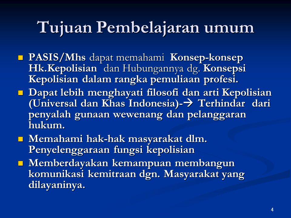 25 DI INDONESIA : HUKUM KEPOLISIAN adalah hukum yang mengatur segala hal ikhwal kepolisian dalam lingkungan kuasa soal-soal, lingkungan kuasa orang, lingkungan kuasa waktu dan lingkungan kuasa tempat.