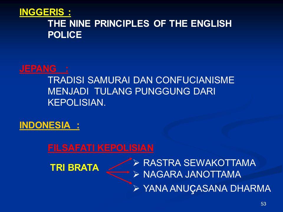 53 INGGERIS : THE NINE PRINCIPLES OF THE ENGLISH POLICE JEPANG : TRADISI SAMURAI DAN CONFUCIANISME MENJADI TULANG PUNGGUNG DARI KEPOLISIAN. INDONESIA