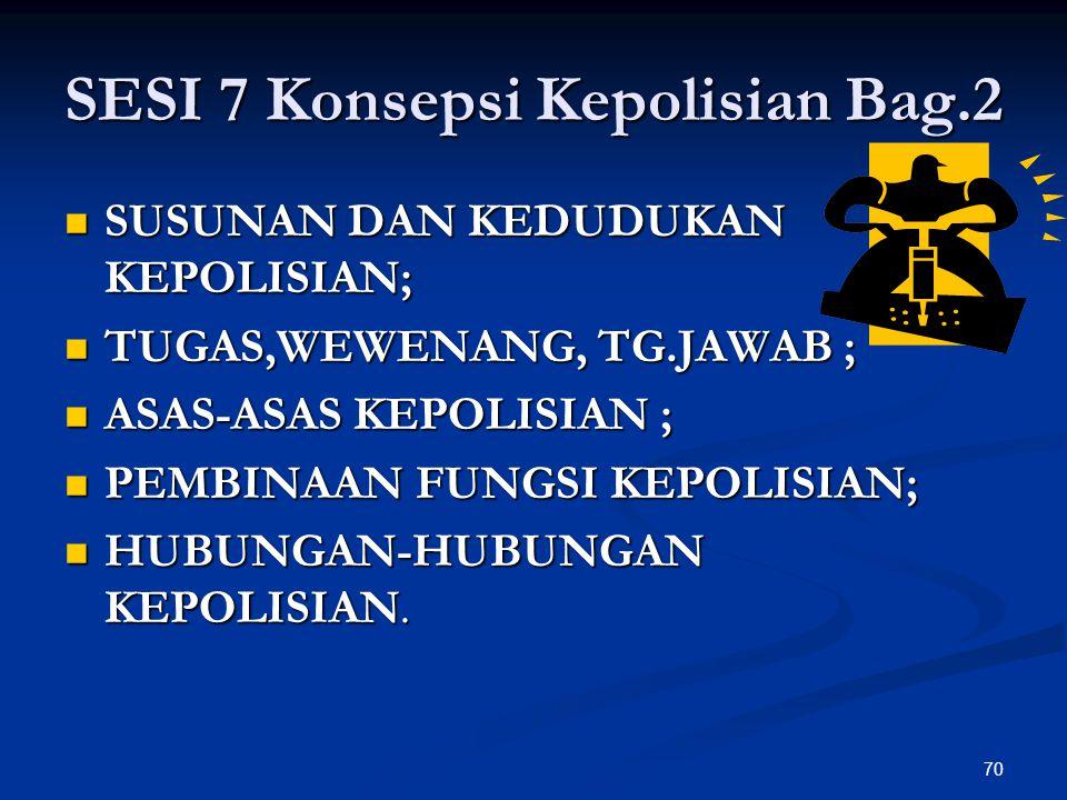 70 SESI 7 Konsepsi Kepolisian Bag.2  SUSUNAN DAN KEDUDUKAN KEPOLISIAN;  TUGAS,WEWENANG, TG.JAWAB ;  ASAS-ASAS KEPOLISIAN ;  PEMBINAAN FUNGSI KEPOL