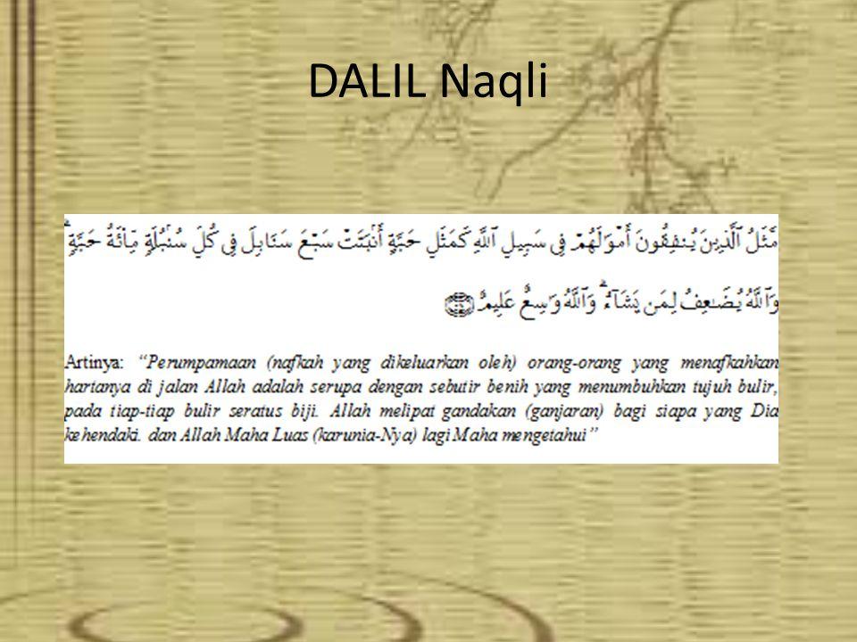 DALIL TENTANG KETENTUAN WAKAF DALIL NAQLI QS. Al Baqarah Ayat 261 Hadis Nabi DALIL AQLI UU NO.41 TAHUN 2004 FATWA MUI