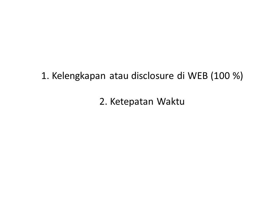 1.Kelengkapan atau disclosure di WEB (100 %) 2.