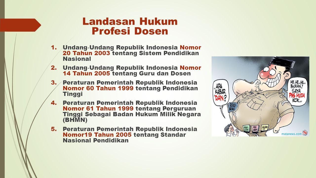 Landasan Hukum Profesi Dosen 1.Undang ‐ Undang Republik Indonesia Nomor 20 Tahun 2003 tentang Sistem Pendidikan Nasional 2.Undang ‐ Undang Republik In