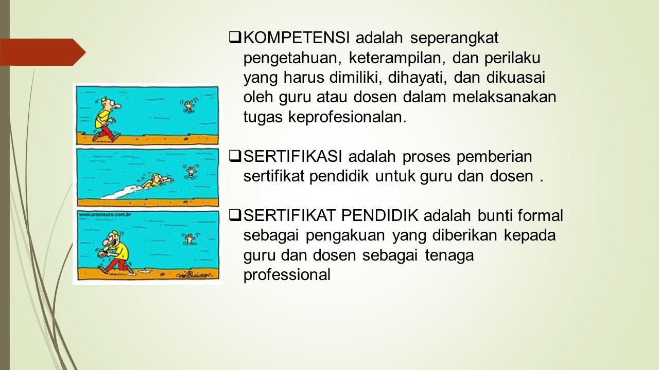  KOMPETENSI adalah seperangkat pengetahuan, keterampilan, dan perilaku yang harus dimiliki, dihayati, dan dikuasai oleh guru atau dosen dalam melaksa