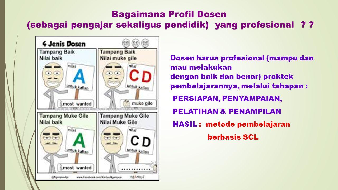 Bagaimana Profil Dosen (sebagai pengajar sekaligus pendidik) yang profesional ? ? Dosen harus profesional (mampu dan mau melakukan dengan baik dan ben