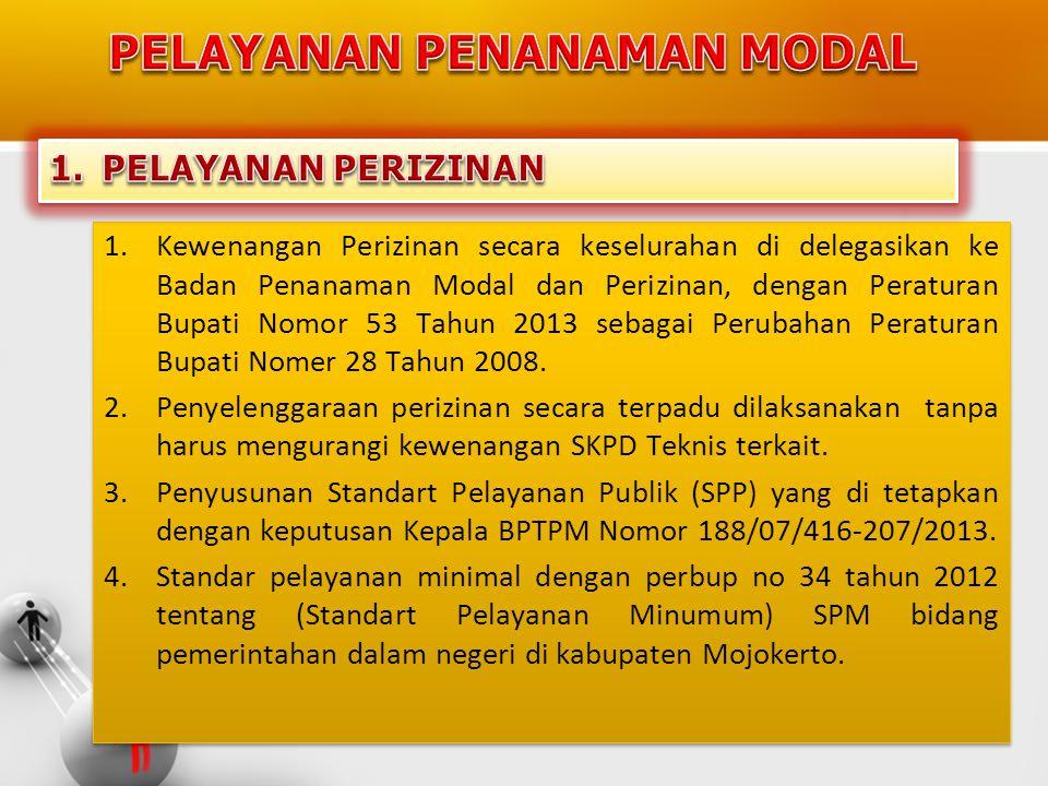 1.Kewenangan Perizinan secara keselurahan di delegasikan ke Badan Penanaman Modal dan Perizinan, dengan Peraturan Bupati Nomor 53 Tahun 2013 sebagai P