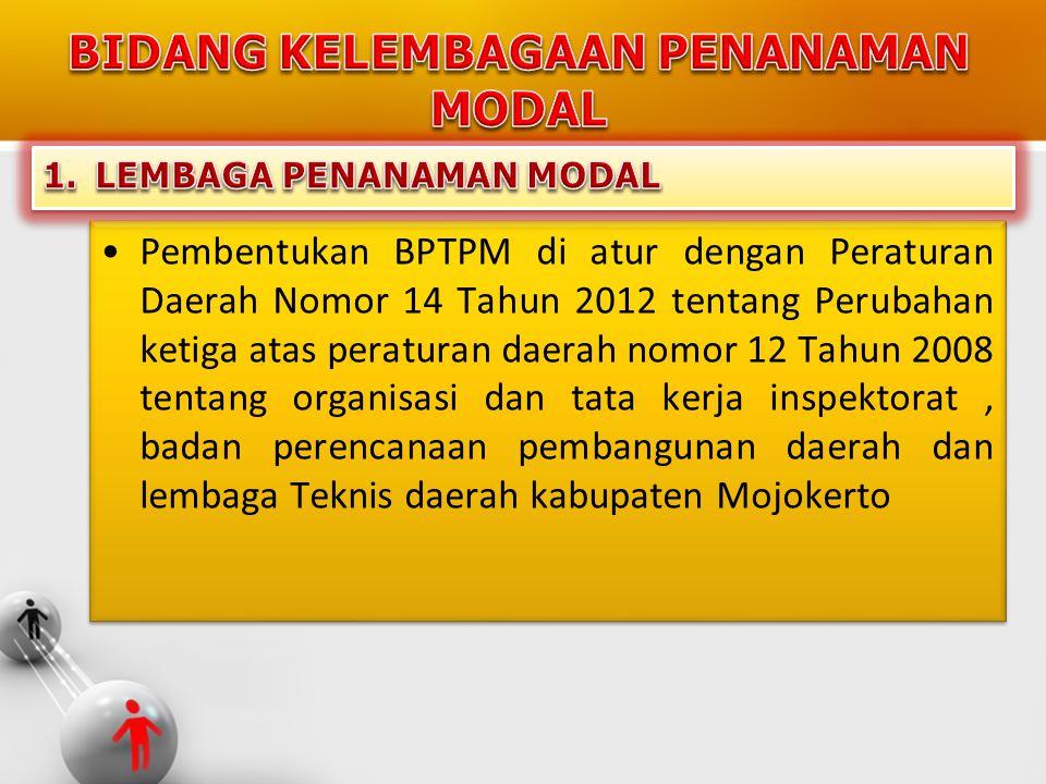 •Pembentukan BPTPM di atur dengan Peraturan Daerah Nomor 14 Tahun 2012 tentang Perubahan ketiga atas peraturan daerah nomor 12 Tahun 2008 tentang orga