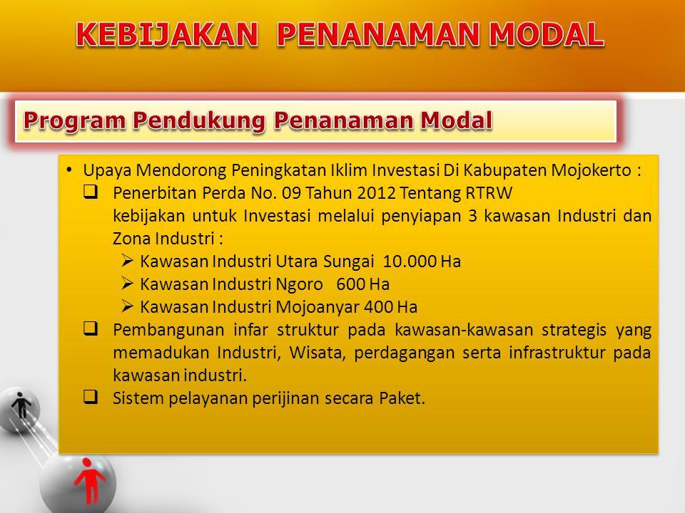 • Upaya Mendorong Peningkatan Iklim Investasi Di Kabupaten Mojokerto :  Penerbitan Perda No. 09 Tahun 2012 Tentang RTRW kebijakan untuk Investasi mel