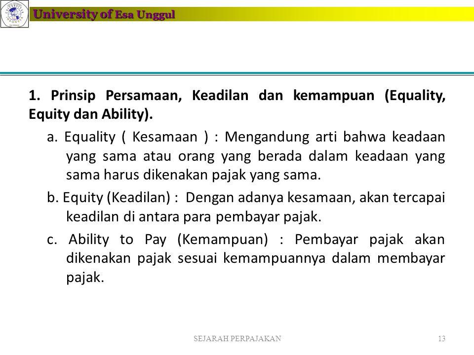 University of Esa Unggul 1. Prinsip Persamaan, Keadilan dan kemampuan (Equality, Equity dan Ability). a. Equality ( Kesamaan ) : Mengandung arti bahwa