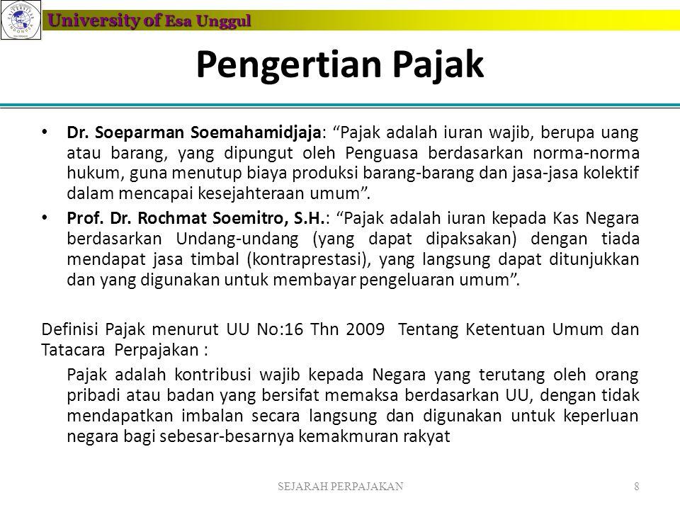 "University of Esa Unggul Pengertian Pajak • Dr. Soeparman Soemahamidjaja: ""Pajak adalah iuran wajib, berupa uang atau barang, yang dipungut oleh Pengu"