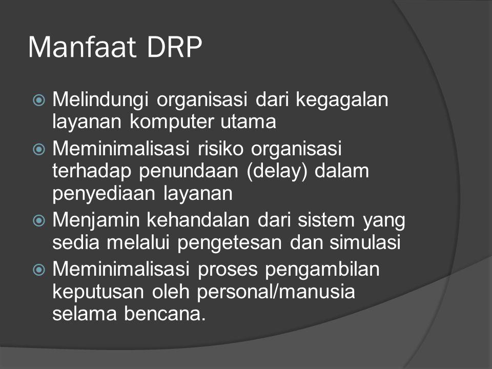 Manfaat DRP  Melindungi organisasi dari kegagalan layanan komputer utama  Meminimalisasi risiko organisasi terhadap penundaan (delay) dalam penyedia