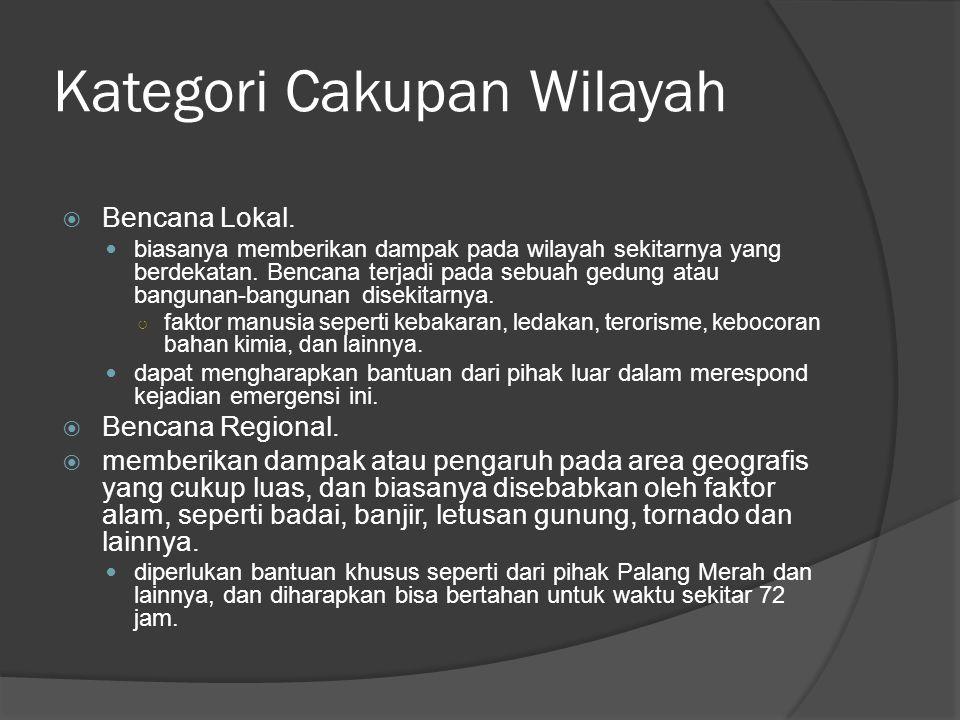 Kategori Cakupan Wilayah  Bencana Lokal.  biasanya memberikan dampak pada wilayah sekitarnya yang berdekatan. Bencana terjadi pada sebuah gedung ata