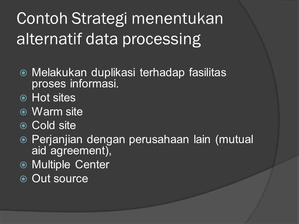 Contoh Strategi menentukan alternatif data processing  Melakukan duplikasi terhadap fasilitas proses informasi.  Hot sites  Warm site  Cold site 
