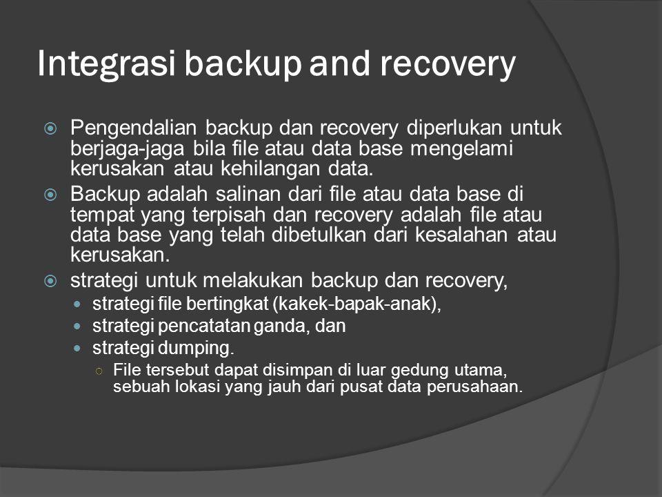 Integrasi backup and recovery  Pengendalian backup dan recovery diperlukan untuk berjaga-jaga bila file atau data base mengelami kerusakan atau kehil
