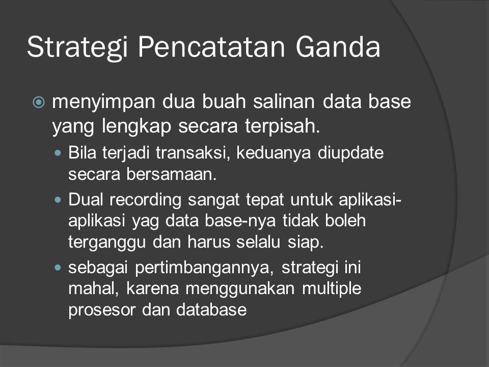 Strategi Pencatatan Ganda  menyimpan dua buah salinan data base yang lengkap secara terpisah.  Bila terjadi transaksi, keduanya diupdate secara bers