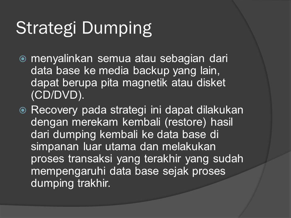 Strategi Dumping  menyalinkan semua atau sebagian dari data base ke media backup yang lain, dapat berupa pita magnetik atau disket (CD/DVD).  Recove