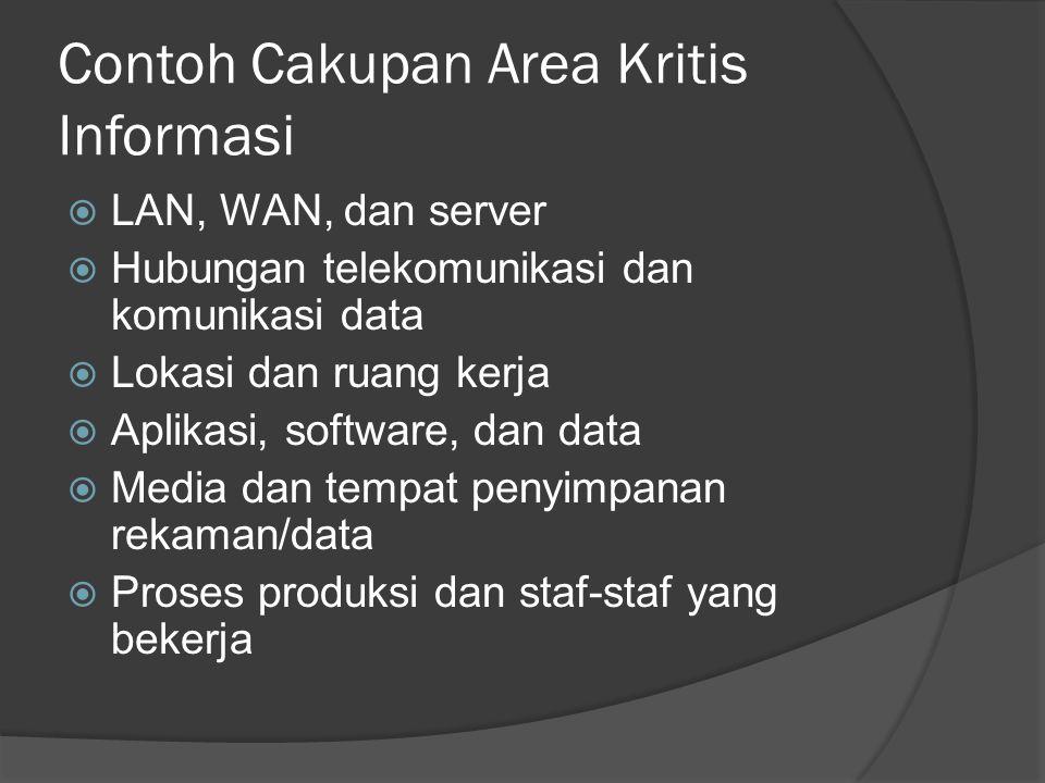 Contoh Cakupan Area Kritis Informasi  LAN, WAN, dan server  Hubungan telekomunikasi dan komunikasi data  Lokasi dan ruang kerja  Aplikasi, softwar