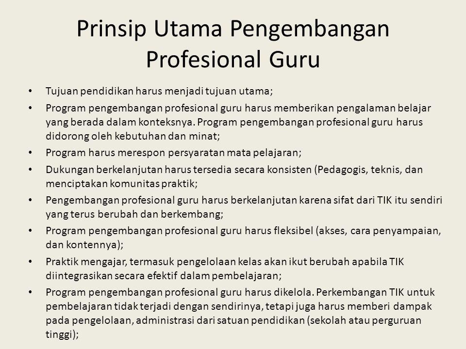 Prinsip Utama Pengembangan Profesional Guru • Tujuan pendidikan harus menjadi tujuan utama; • Program pengembangan profesional guru harus memberikan p