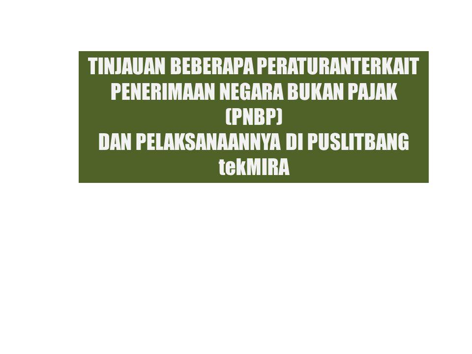 PELAKSANAAN PNBP DI PUSLITBANG tekMIRA Pelayanan Jasa Laboratorium : Sesuai dengan Undang-undang Republik Indonesia Nomor 20 Tahun 1997 Tentang Penerimaan Negara Bukan Pajak Bimbingan Teknis : Disetorkan seluruhnya ke Kas Negara, namun terdapat kelemahan dalam penetapan tarif yang belum diusulkan dalam Revisi PP 45 2003 ke Direktorat PNBP Jasa Konsultasi, konsultansi, kontrak penelitian, kontrak kajian, kontrak rancang bangun dan perekayasaan : Belum sesuai dengan Undang-undang Republik Indonesia Nomor 20 Tahun 1997 Tentang Penerimaan Negara Bukan Pajak Terdapat 2 model :  100% nilai kontrak, 20% nya sebagai PNBP  100% nilai pekerjaan + 20% PNBP Pelayanan Umum Wisma/mess, Gedung SM SAIR, dsb.