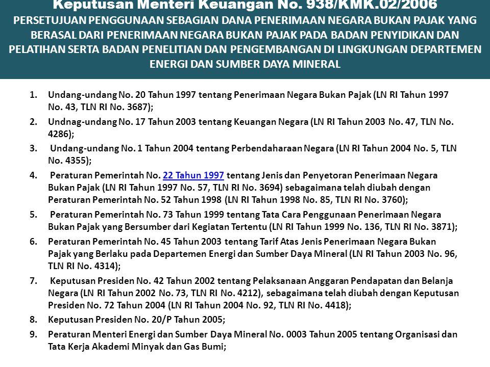 Keputusan Menteri Keuangan No. 938/KMK.02/2006 PERSETUJUAN PENGGUNAAN SEBAGIAN DANA PENERIMAAN NEGARA BUKAN PAJAK YANG BERASAL DARI PENERIMAAN NEGARA