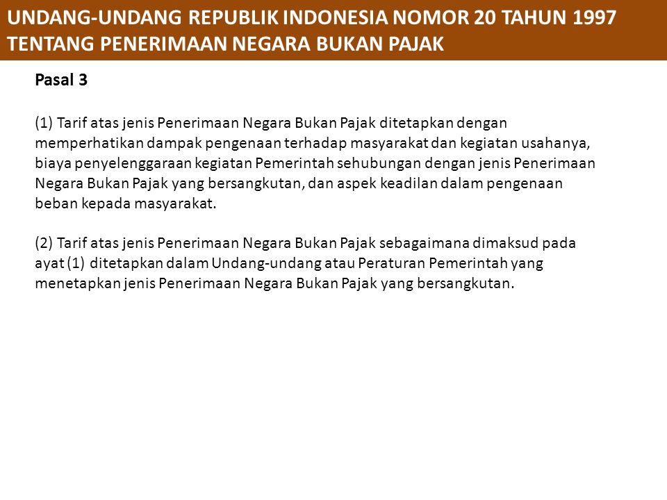 PERATURAN PEMERINTAH REPUBLIK INDONESIA NOMOR 73 TAHUN 1999 TENTANG TATACARA PENGGUNAAN PENERIMAAN NEGARA BUKAN PAJAK YANG BERSUMBER DARI KEGIATAN TERTENTU Pasal 15 (1) Pemberian izin penggunaan dana Penerimaan Negara Bukan Pajak yang telah diberikan masih tetap berlaku sebelum dilakukan penyesuaian berdasarkan Peraturan Pemerintah ini.