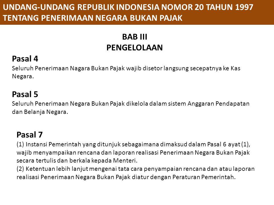 PERATURAN PEMERINTAH REPUBLIK INDONESIA NOMOR 73 TAHUN 1999 TENTANG TATACARA PENGGUNAAN PENERIMAAN NEGARA BUKAN PAJAK YANG BERSUMBER DARI KEGIATAN TERTENTU Pasal 6 (1) Permohonan penggunaan Penerimaan Negara Bukan Pajak sebagaimana dimaksud dalam Pasal 5 diajukan oleh Pimpinan Instansi Pemerintah yang bersangkutan kepada Menteri.