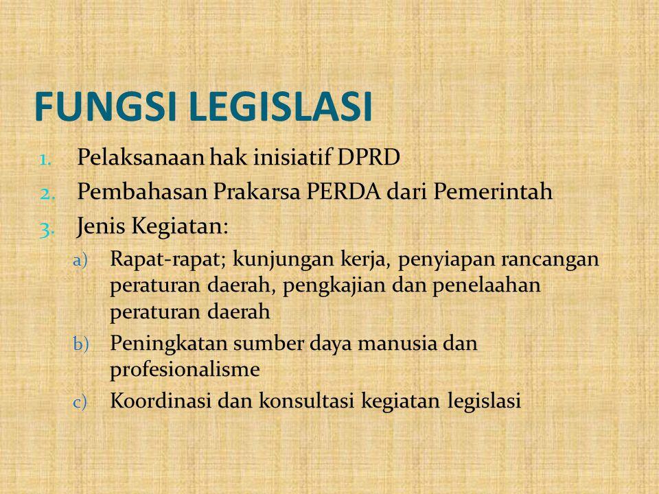 FUNGSI LEGISLASI 1. Pelaksanaan hak inisiatif DPRD 2. Pembahasan Prakarsa PERDA dari Pemerintah 3. Jenis Kegiatan: a) Rapat-rapat; kunjungan kerja, pe
