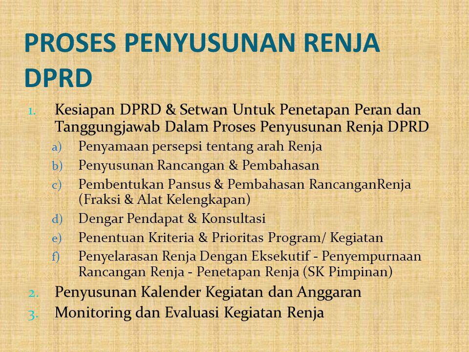 PROSES PENYUSUNAN RENJA DPRD 1. Kesiapan DPRD & Setwan Untuk Penetapan Peran dan Tanggungjawab Dalam Proses Penyusunan Renja DPRD a) Penyamaan perseps