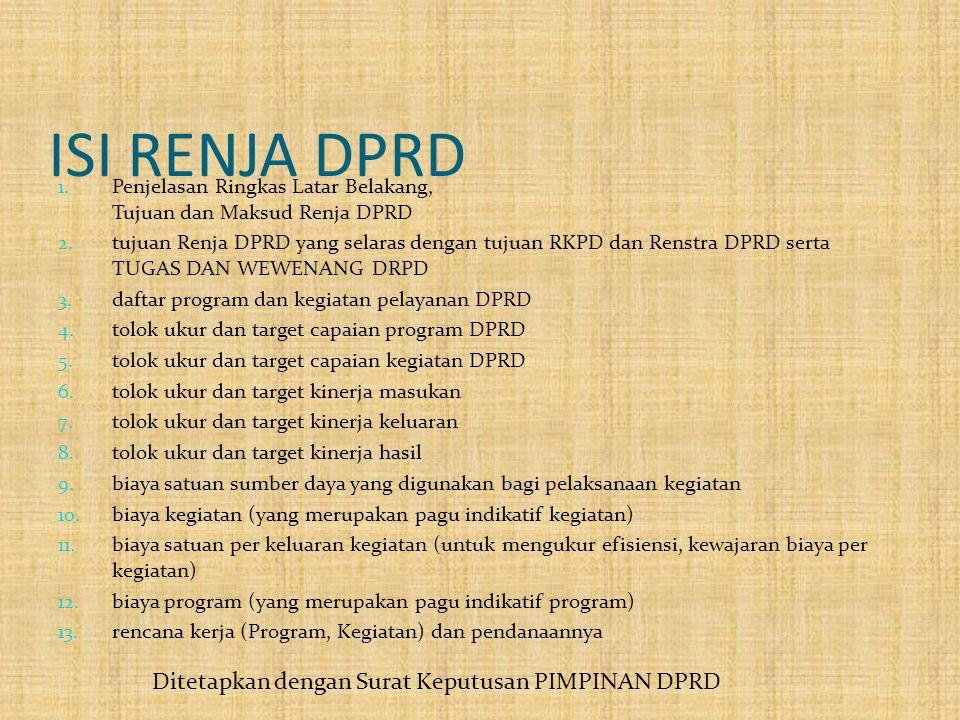 ISI RENJA DPRD 1. Penjelasan Ringkas Latar Belakang, Tujuan dan Maksud Renja DPRD 2. tujuan Renja DPRD yang selaras dengan tujuan RKPD dan Renstra DPR