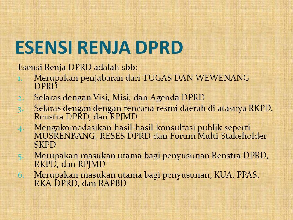ESENSI RENJA DPRD Esensi Renja DPRD adalah sbb: 1. Merupakan penjabaran dari TUGAS DAN WEWENANG DPRD 2. Selaras dengan Visi, Misi, dan Agenda DPRD 3.