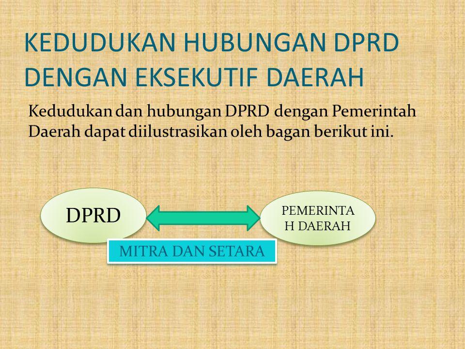 KEDUDUKAN HUBUNGAN DPRD DENGAN EKSEKUTIF DAERAH Kedudukan dan hubungan DPRD dengan Pemerintah Daerah dapat diilustrasikan oleh bagan berikut ini. DPRD