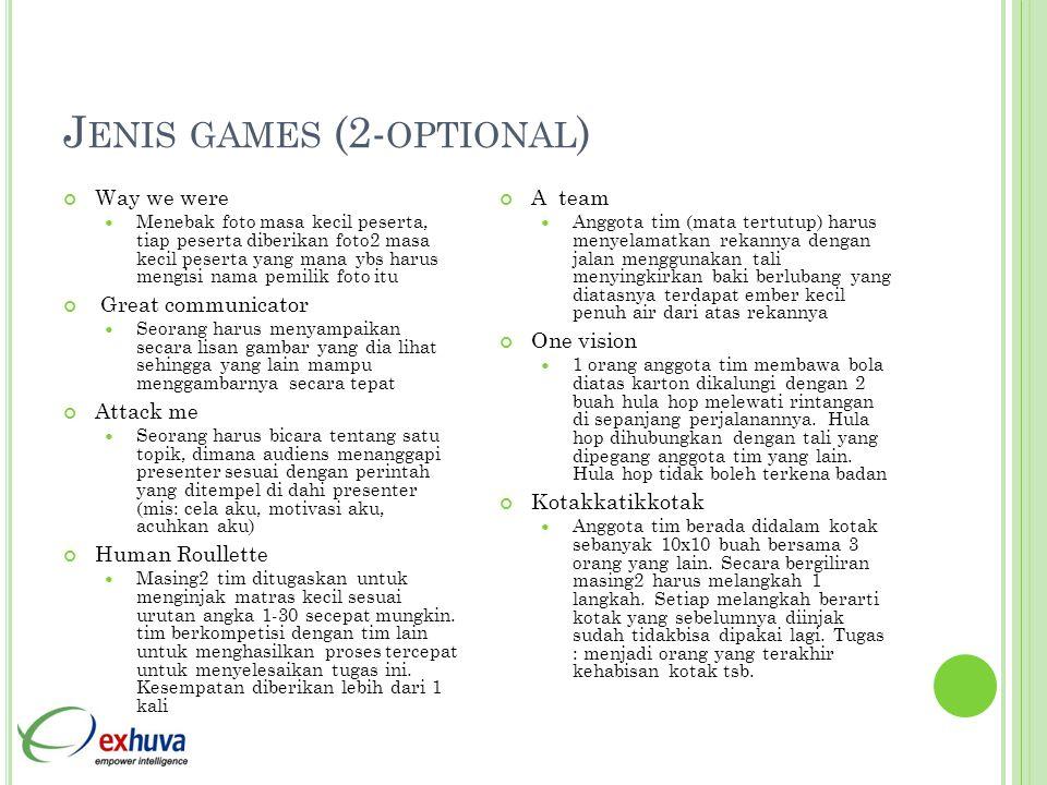 J ENIS GAMES (2- OPTIONAL ) Way we were  Menebak foto masa kecil peserta, tiap peserta diberikan foto2 masa kecil peserta yang mana ybs harus mengisi
