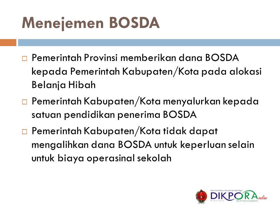 Menejemen BOSDA  Pemerintah Provinsi memberikan dana BOSDA kepada Pemerintah Kabupaten/Kota pada alokasi Belanja Hibah  Pemerintah Kabupaten/Kota me