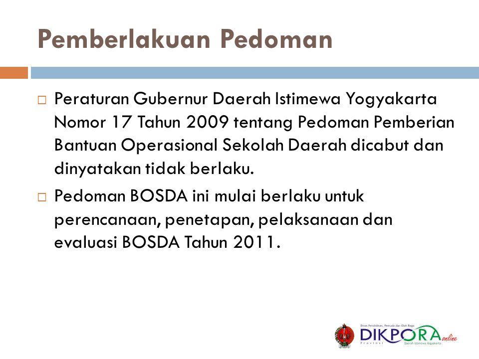 Pemberlakuan Pedoman  Peraturan Gubernur Daerah Istimewa Yogyakarta Nomor 17 Tahun 2009 tentang Pedoman Pemberian Bantuan Operasional Sekolah Daerah