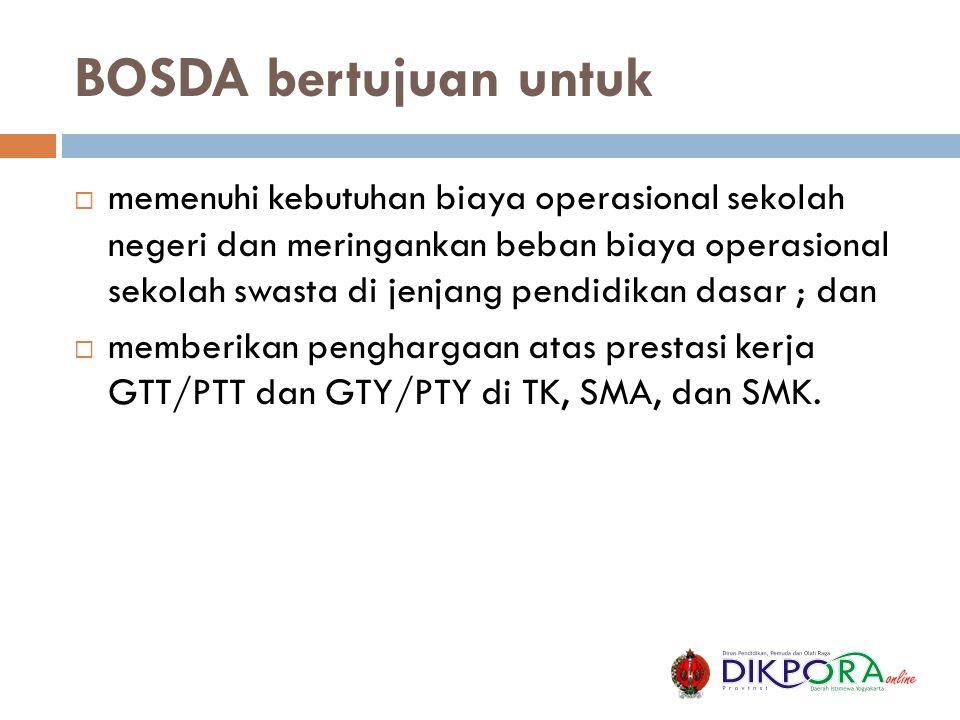 BOSDA bertujuan untuk  memenuhi kebutuhan biaya operasional sekolah negeri dan meringankan beban biaya operasional sekolah swasta di jenjang pendidik