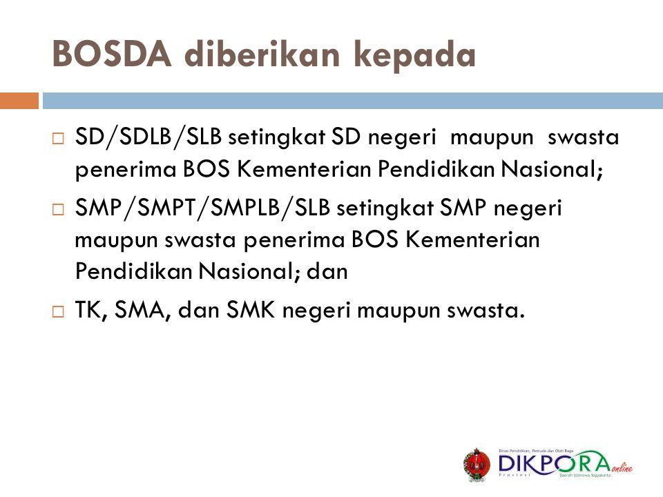 BOSDA diberikan kepada  SD/SDLB/SLB setingkat SD negeri maupun swasta penerima BOS Kementerian Pendidikan Nasional;  SMP/SMPT/SMPLB/SLB setingkat SM