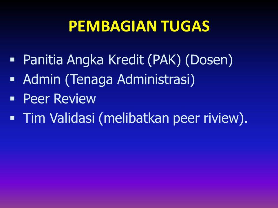PEMBAGIAN TUGAS  Panitia Angka Kredit (PAK) (Dosen)  Admin (Tenaga Administrasi)  Peer Review  Tim Validasi (melibatkan peer riview).