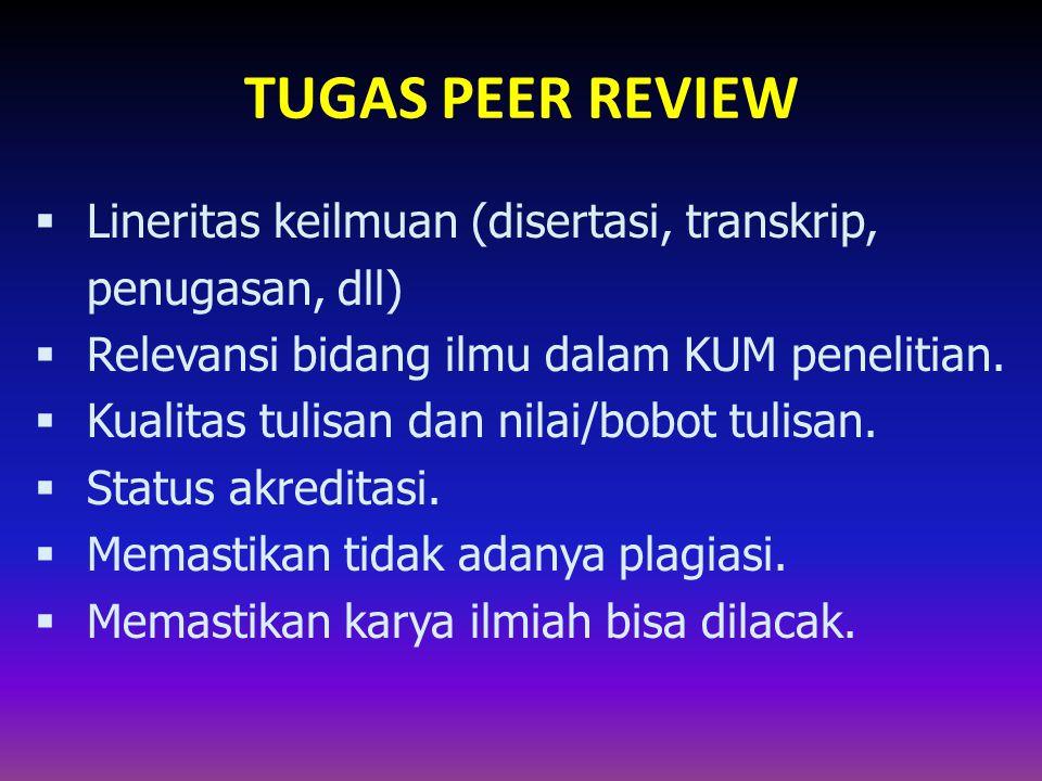 TUGAS PEER REVIEW  Lineritas keilmuan (disertasi, transkrip, penugasan, dll)  Relevansi bidang ilmu dalam KUM penelitian.  Kualitas tulisan dan nil