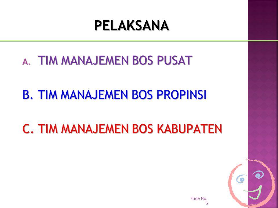 PELAKSANA A. TIM MANAJEMEN BOS PUSAT B. TIM MANAJEMEN BOS PROPINSI C. TIM MANAJEMEN BOS KABUPATEN Slide No. 5