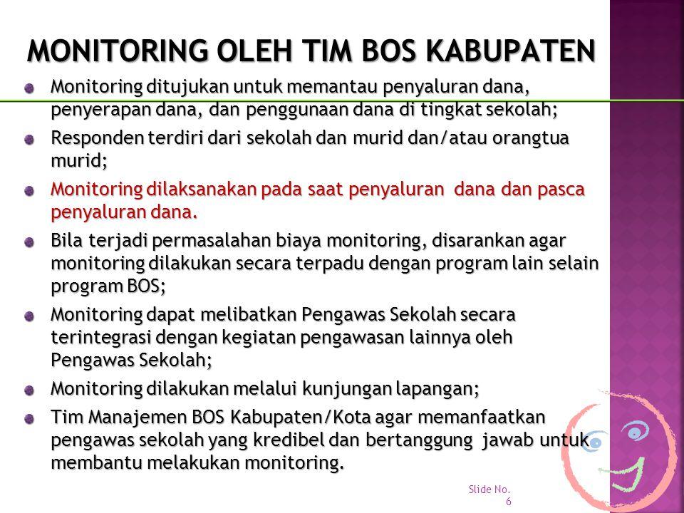 MONITORING OLEH TIM BOS KABUPATEN Monitoring ditujukan untuk memantau penyaluran dana, penyerapan dana, dan penggunaan dana di tingkat sekolah; Respon