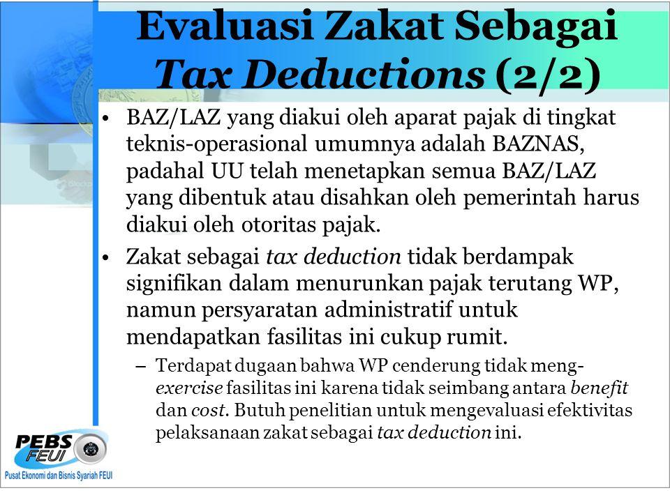 Evaluasi Zakat Sebagai Tax Deductions (2/2) •BAZ/LAZ yang diakui oleh aparat pajak di tingkat teknis-operasional umumnya adalah BAZNAS, padahal UU telah menetapkan semua BAZ/LAZ yang dibentuk atau disahkan oleh pemerintah harus diakui oleh otoritas pajak.