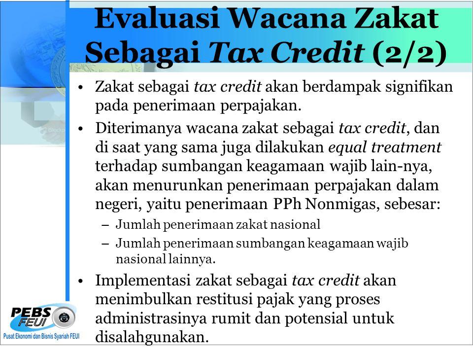 Evaluasi Wacana Zakat Sebagai Tax Credit (2/2) •Zakat sebagai tax credit akan berdampak signifikan pada penerimaan perpajakan.