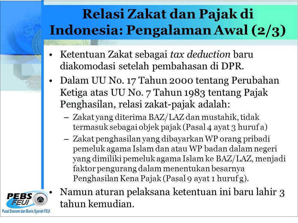 Relasi Zakat dan Pajak di Indonesia: Pengalaman Awal (2/3) •Ketentuan Zakat sebagai tax deduction baru diakomodasi setelah pembahasan di DPR.