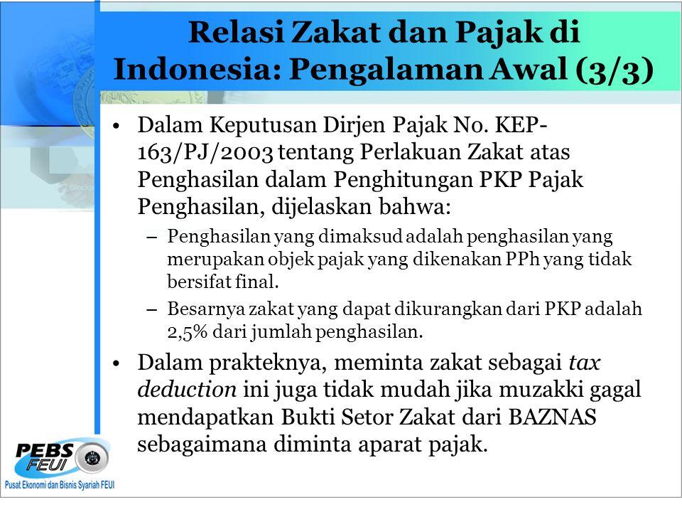 Relasi Zakat dan Pajak di Indonesia: Pengalaman Awal (3/3) •Dalam Keputusan Dirjen Pajak No.