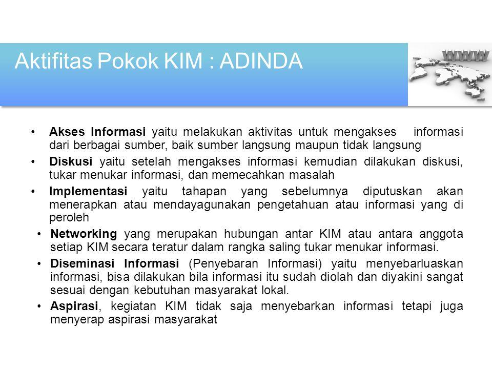 Kedudukan dan Sifat KIM a)Setiap kelompok sosial dapat membentuk KIM mulai dari tingkat RT/RW, Desa sampai organisasi-organisasi yang ada dalam masyarakat.