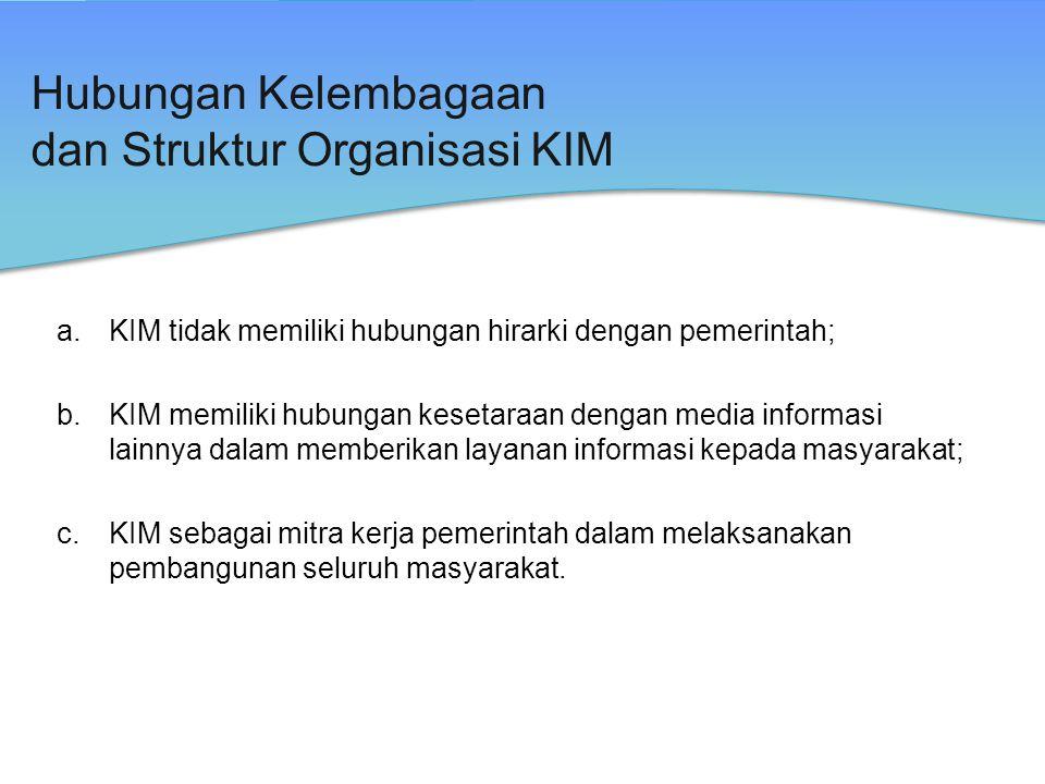 Hubungan Kelembagaan dan Struktur Organisasi KIM a.KIM tidak memiliki hubungan hirarki dengan pemerintah; b.KIM memiliki hubungan kesetaraan dengan me